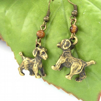 Dog charm earrings antique bronze tigers eye