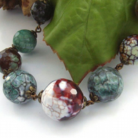 Agate graduating gemstone vintage style necklace