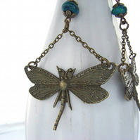 Steampunk dragonfly charm earrings