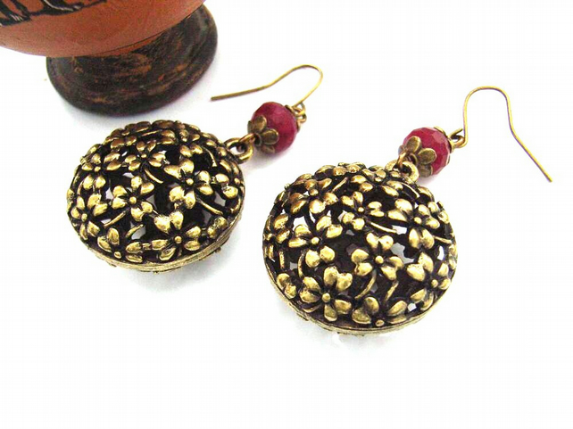 Flower charm bold bronze pink earrings
