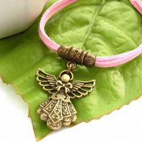 Angel charm pendant necklace on pink cord