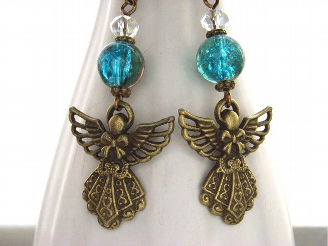 Blue angel charm earrings