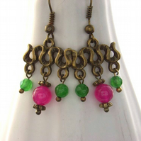 Pink and green bead earrings