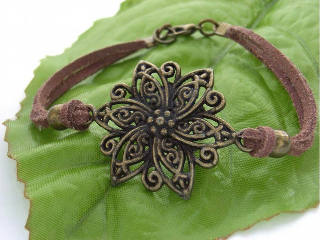 Vintage style flower connector charm karma cord bracelet brown