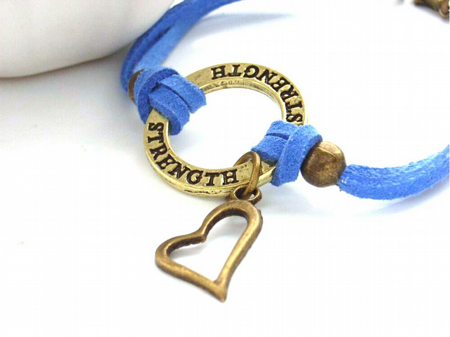 Affirmation cord bracelet strength blue cord