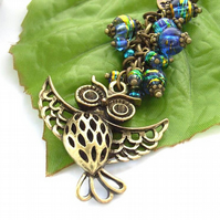 Flying owl bag charm