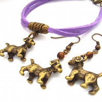 Dog earrings and bracelet set lilac cord