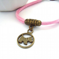 Pink cord Scottie dog charm bracelet