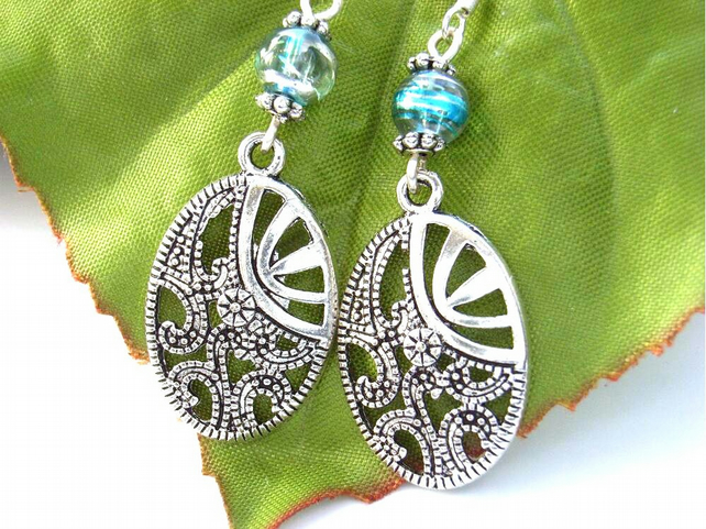 Oval filigree bead earrings sterling silver
