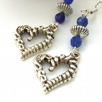 Valentine heart charm vintage style earrings with blue beads