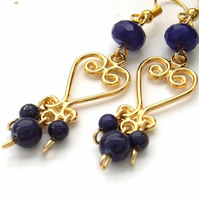 Chandelier earrings gold plated with lapis lazuli and blue quartzite beads