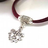Green man charm cord bracelet red