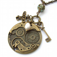 Steam punk or goth style charm necklace vintage bronze