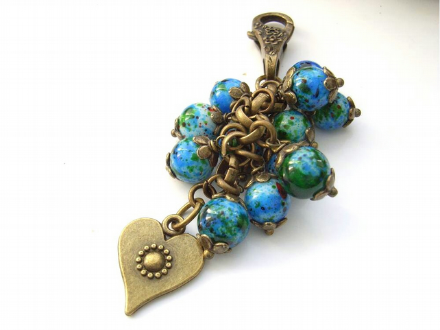 Handbag bag purse charm blue heart beads