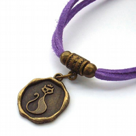 Cat charm bracelet on lilac faux suede cord