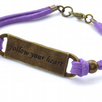 Follow your heart affirmation motto charm bracelet on faux suede cord