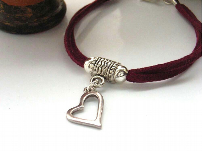 Valentine silver heart red cord charm bracelet