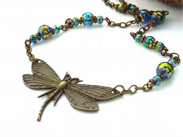 Steam punk dragonfly charm necklace with glass beads