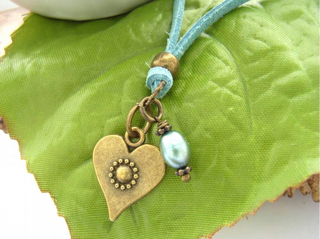 Necklace heart and pearl