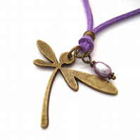 Necklace deco dragonfly lilac cord