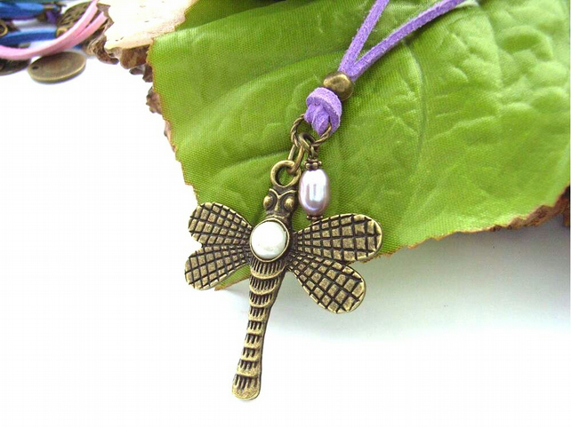 Steam punk dragonfly charm necklace