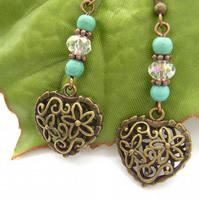 Flower, heart and crystal blue earrings