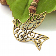 Bird of peace bronze charm cord necklace