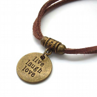 Live laugh love affirmation charm bracelet cord coffee brown