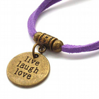 Live laugh love affirmation charm bracelet cord lilac