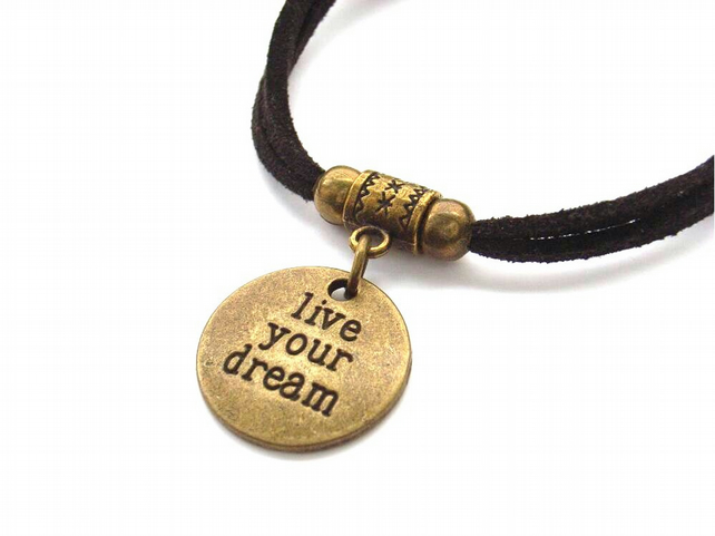 Live your dream affirmation charm bracelet