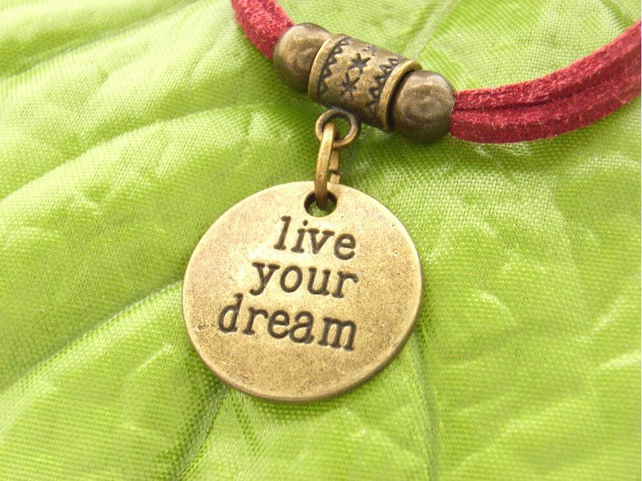 Live your dream affirmation charm bracelet red