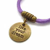 Live your dream affirmation charm bracelet lilac