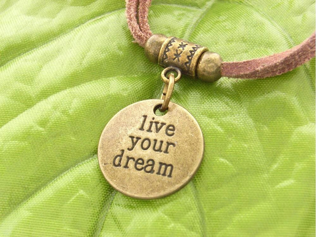 Live your dream affirmation charm bracelet brown