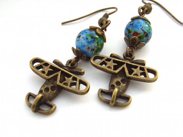 Steam punk biplane earrings