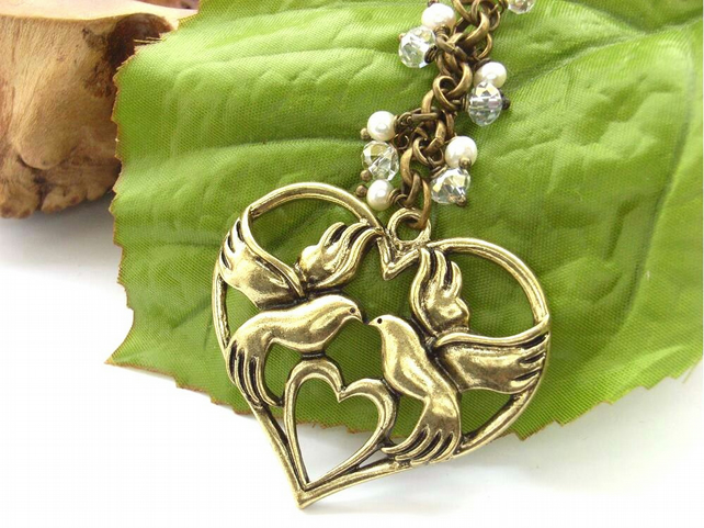 Bird and heart bag charm