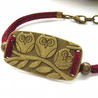 Bracelet owl charm red faux suede cord