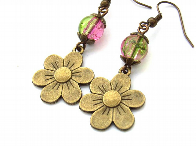 Earrings flower charm pink green glass beads