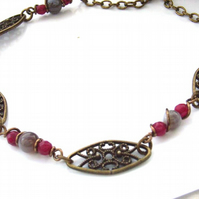 Necklace vintage style Botswana agate red quartzite