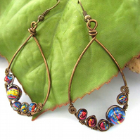 Earrings wire work bubble glass beads