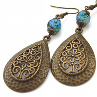 Earrings vintage style teardrop bronze filigree charm