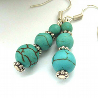 Earrings turquoise resin blue beads sterling silver earwires