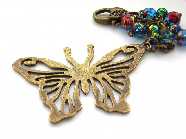 Bag charm butterfly with multi coloured glass beads