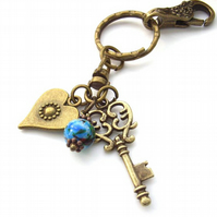 Key ring purse charm key to my heart