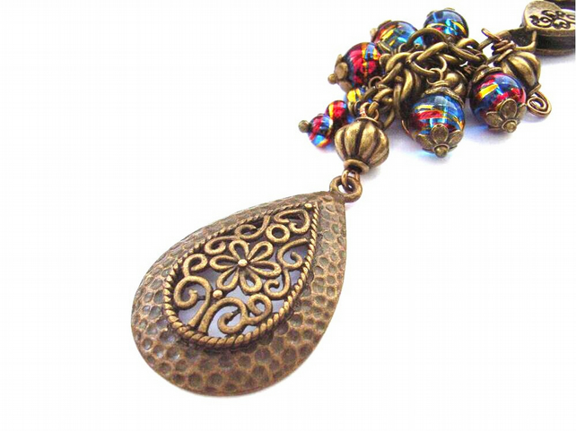 Teardrop filigree bronze vintage style bag charm