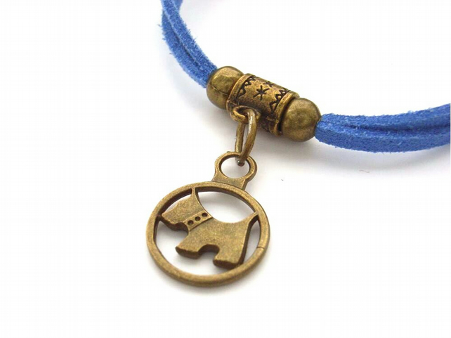 Bracelet Scottie dog charm blue cord