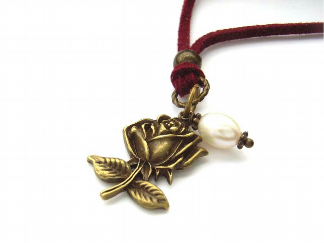 Necklace steam punk rose pearl dark red cord