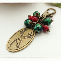 Christmas tree deer bag charm red green