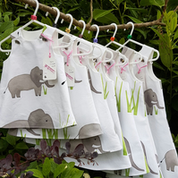 Age: 3-6m. White and grey elephant cotton dress.