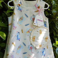Age: 2-3y. Cream Bear and Donkey Pattern cotton dress.