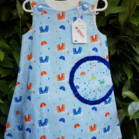 Blue umbrella cotton dress. Age: 4-5 years